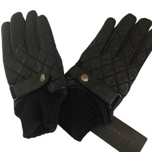 David Lawrence Black Leather Quilted Gloves Sz M-L